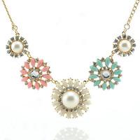 2014 New Brand ZA Imitation Gemstone Jewelry Big Pearl Necklaces Pendants Crystal Choker Collares for women Men jewelry