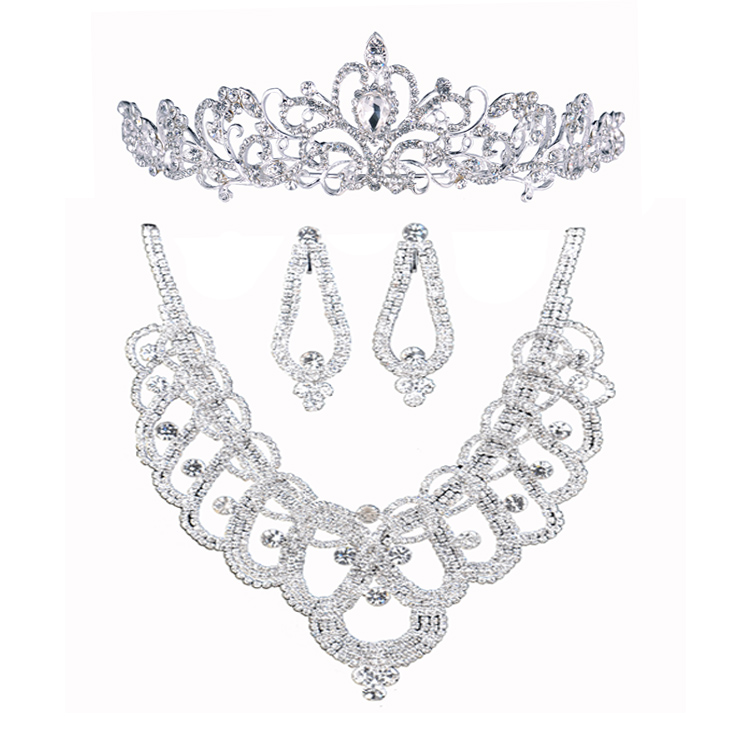 Luxurious Rhinestone Crystal Three Piece Set Aesthetic Necklace Earrings Tiara Marriage Accessories Wedding Bridal Jewelry Sets