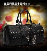 M moment black paint rivet shoulder bag messenger bag handbag women's Medium