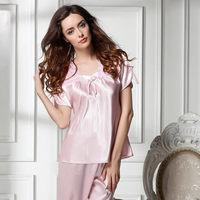 new 2014 lace women pajama sets / embroidery silk women sleepwear short quality elegant women nightgwon pajamas Free shipping