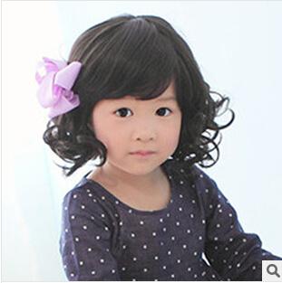 Korean fashion children's wig hair girl short pear baby wig headgear neat oblique bangs(China (Mainland))