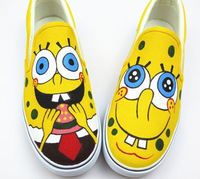 Free Shipping New Cartoon SpongeBob Pattern Girl/Boy Pure Hand-painted Shoes Women/men Canvas Shoe Low Top sneakers Size35-42
