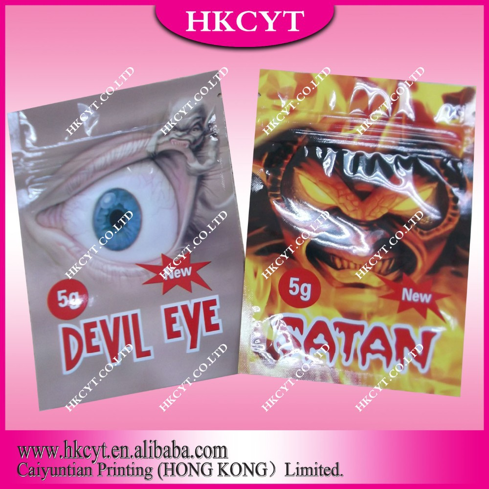 Satan 5g aluminum foil packaging bag with zipper/ Wholesale herbal incense bag with high barrier(Hong Kong)