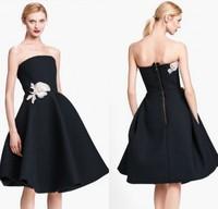 Free shipping Elegant A-line Strapless Applique Prom Dresses