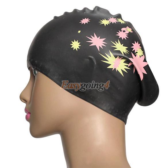EA14 Silicone Swimming Cap Hair Protector Ear Wrap Waterproof Hat Black(China (Mainland))