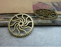 Min. order is $8(mix order) 30pcs 24mm Vintage Antique Bronze Gear Charms Pendants,Connector Finding,Free Shipping C7547