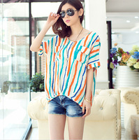 Fashion striped roll cuff short sleeves bat sleeves o-neck lady's chiffon blouse