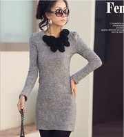 Women Fashion Knitted Winter Dress 2014 New Flower Decorated Long Sleeves Slim Dress 3 Color