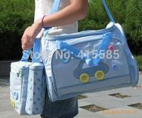 free shipping 4pcs/set multifunction car print navy blue, sky blue, pink mummy bag  fashion nappy bags
