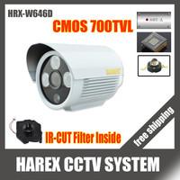 100% Original 700tvl CMOS with IR-CUT Filter 3pcs array leds Indoor/Outdoor IR CCTV Camera with Bracket. Free Shipping
