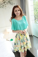 Free shipping 2014 new fashion summer sweet floral chiffon dress with short sleeve cute print dresses