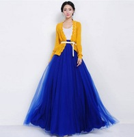 Free shipping Women New Vintage Style Fashion Two Layers Net Veil Patchwork 4 Color  Long Skirt