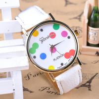 Geneva watch DGJD-332 women new fashion dress watches in summer leather stripe quartz Silica gel candy dial wristwatch