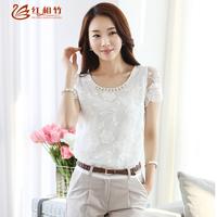 2014  summer women short sleeve chiffon beading blouse shirts