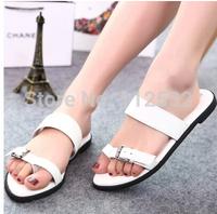2014 Korean women summer flat sandals girl flat-bottomed single shoes European and American buckle shoes comfort Rome flats