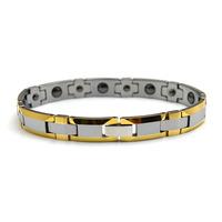 Free Shipping Gold &Silver Tone Mens Womens Anti-fatigue Health Magnetic Tungsten Bracelet TU006B