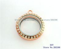 5pcs Magnetic Floating Locket 30mm Rose Gold Zinc Alloy Round  Floating Charm Locket