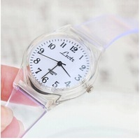 Fashion candy color watches Transparent white Couples watch Female table waterproof  Sports watch