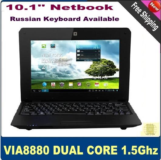 Livraison gratuite 10.1'' pouces pas cher pc netbook via8880 dual core android ghz 1.5 d'umpc 4.2 wifi, 512mb hdd ram 4go hdmi. webcam