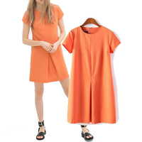 Brief elegantPure Orange Color Draped Chiffon Short sleeve O-neck Slim Women Clothing Ladies Straight Casual Dress V3460