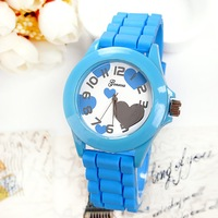 2014 500pcs Hot Sale Designer Sports Brand Silicone Watch New Fashion Ladies Watch Classic Heart Silicone Jelly Wristwatch