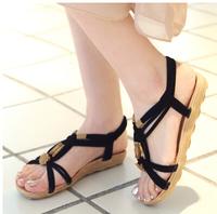 Women sandal shoes bohemia sandals female flat national trend beads flat heel sandals flip women's shoes