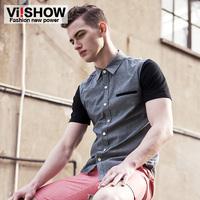 Viishow2014 male short-sleeve shirt square collar slim 100% cotton short shirt summer casual shirt
