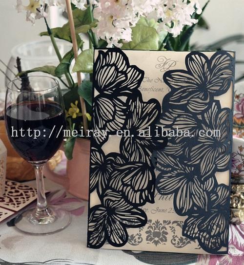 """2014 Scroll convites de casamento """" Big Flowers """" do convite personalizado cartões de Mery artesanato(China (Mainland))"""