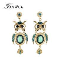 Fashion Blue Rhinestone Owl Shape Gold Color Zinc Alloy Trendy Designer Drop Earrings New 2014 Brincos for Women