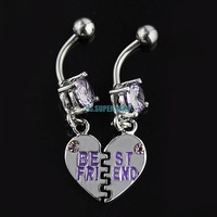 ES0675 Heart Best Friend Dangle Navel Ring Belly Rings Button Bars Jewellery 1 pair