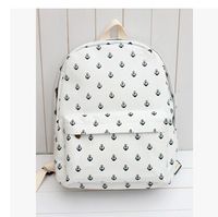 2014 Hot Sale Korean Style Vintage Designer Anchor Printing Fresh Backpack Canvas Bag Student School Bag Double Shoulder Bag