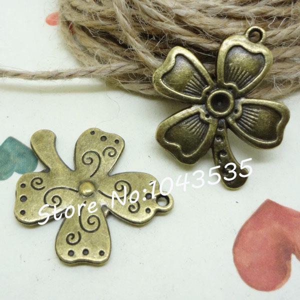 50pcs/lot 28*25*2MM 3.6alloy antique bronze four-leaf clover charms pendants for DIY bracelet and necklace PBC379(China (Mainland))