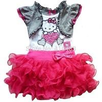 RQ0122 Retail 2014 Summer Children Dress Girls lovely Hello kitty Lace short sleeves dress Kids prince dress Free Shipping