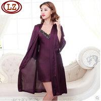 LZ nightwear 2014 spring summer high quality polyester silk dress nightgown robe 2pcs twinset women sleepwear sets purple M L XL