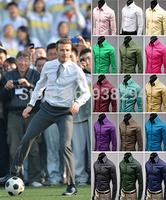 M-XXXL,17colors 2014 New Fashion Hot Sale Men Candy Colors Stylish Slim Fit Dress Shirt Leisure Shirt Slim fit Casual Slim