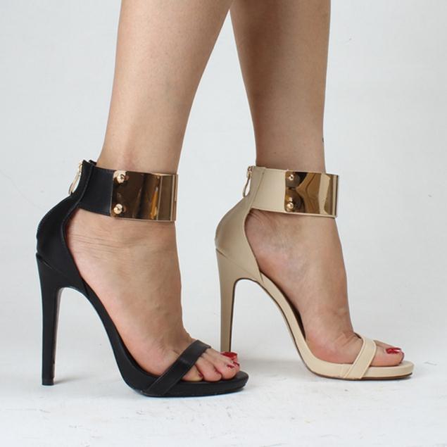 Grandi dimensioni moda sexy 35-40 cinturini alla caviglia scarpe estive fibbia vintage tacchi alti open toe sandali in nappa per le donne