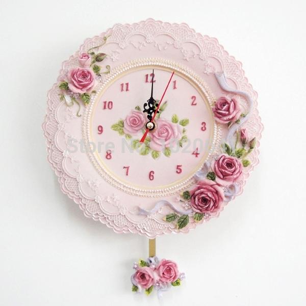 Resin clock fashion resin rustic wall clock rose clock living room decoration wall clock(China (Mainland))