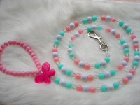 Chic Butterfly Beads Beaded Leashes , Jelly Beads Dog Leashes