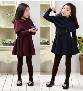 Free shipping 2015 Style Children's cotton long sleeve outerwear fashion brand baby girls jacket kids coat with belt(China (Mainland))
