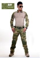 Outdoor Commando 3AT-FG frog tactical camouflage clothing corset belt brace ruins Green training uniform jacket+pants