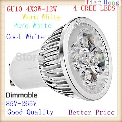 2015 NEW Dimmable GU10 4X3W 12W Spotlight Led Lamp 85V-265V Led Light Led Bulbs Energy Saving Equivalent to 50w Halogen Bulb(China (Mainland))