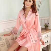 LZ nightwear lace Embroidery high quality polyester silk nightgown robe 2pcs twinset woman sleepwear plus size L XL XXL