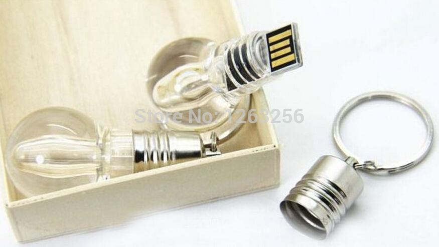 New Waterproof LED Light Bulb shape Usb Flash Drive STICK 8GB 16gb 32GB 64GB Memory card gifts with Key chain Free shipping(China (Mainland))