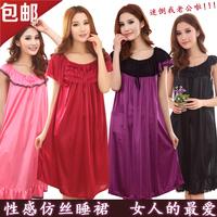 womens robes summer sleepwear ultralarge nightgown plus size plus size summer mm ultra long silk sleeveless maternity sleepwear