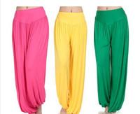 Modal new yoga pants sportswear fitness women trousers female plus size candy color workout pants loose lantern design 2014