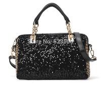Sell like hHt Cakes! 2014 New Tide in Europe And America Black Sequins leopard Grain Bag Shoulder Bag Portable Female Bag