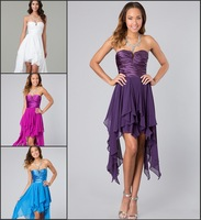 Custom Made Dark Purple Asymmetric Prom Dresses 2014 Strapless Pleat Ruffle Prom Gowns
