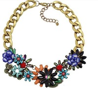 2014 New Arrival Luxury Flower multicolor Necklace Brand Crystal Chokers Statement shourouk girls necklaces & pendants Girl 2462