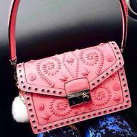 Hot sale!!! Free shipping 2014 new Luxury handmade BN924E pink in original calfskin leather women messenger bags