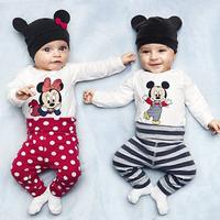 New Cotton Children Mickey Minnie Baby Boys Girls 3 pcs Clothing Set Baby T-shirt Hat Pants Newborn Bodysuits TZ-14001